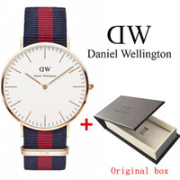 Wholesale champagne glass box - relojes hombre 2017 New Wellington watches 40mm men watch Fashion luxury Brand watches Quartz watch Montres homme Wristwatches+Original box