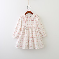Wholesale Girls Sailor Style Dress - Everweekend Girls Ruffles Rabbit Print Dress Lovely Kids Sailor Collar Clothes Cute Baby Pink and Blue Color Fall Party Clothing
