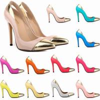Wholesale White Platform Heels Size 11 - Zapatos Mujer Women's Pointe Toe Patent High Heel Stilettos Platform Sexy Pumps Shoes US Size 4-11 Mixed Color D0076