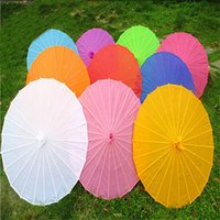 Wholesale White Umbrella Parasol Silk - Paper Umbrella 11colors Hand Made Bamboo Paper Traditional Classical Oil Paper Parasol Wedding Favor Lovely Silk Bumbershoot Decorate