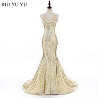 Wholesale Hot Sequin Party Dresses - Hot Sexy Prom dress Mermaid Sparkly Sequined Prom party Dresses Real Model Cross Back Sweep Train Rose Gold Sequined Formal Gowns