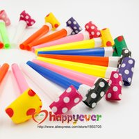 Vente en gros-24 PCS Medium Multi Color Parti Blowouts Whistles Enfants Birthday Party Favor Décoration Fournitures Noicemaker Goody Sacs