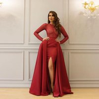 Wholesale designer beaded tops - Shiny Heavy Hand Beaded Prom Gowns Sheath Long Sleeve Illusion Top Designer Sexy Custom Made Evening Dresses Split Side