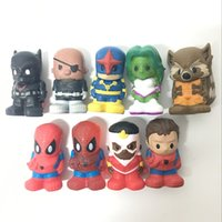 Wholesale Marvel Action Figures Spiderman - Rare Lot 9PCS Marvel For Ooshies Series 1 PENCIL TOPPERS SPIDERMAN BATMAN Raccoon Nick Fury Action Figure Toy Free Shipping CA48