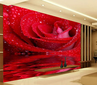 Wholesale Print Big Photos - Custom 3D Large Mural Big Red Rose Romantic And Warm Photo Wallpaper For Wedding House Wall Mural 3D HD Wallpaper On The Walls