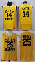 Wholesale L Bel - #14 WILL SMITH BEL-AIR Academy Jersey, #25 CARLTON BANKS Men's 100% Stitched Embroidery Logos Basketball Jerseys Wholesale Mix Order
