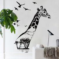 zebra wand kunst großhandel-M9271-9277 Zebra Pferd Giraffe Hirsch Elefant Wandaufkleber PVC DIY Wandaufkleber Abstrakte Kunst Tier Radfahren Laufen Pilz Haus Baum Aufkleber