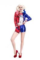 женские костюмы клоуна оптовых-Взрослая самка отряда самоубийц Харли Квинн Костюм Косплей Полный комплект Харли Квинн Необычные Наряды Хэллоуин Косплей Клоун с подарочной сумкой PS056