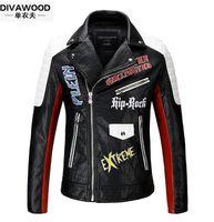 Wholesale Faux Leather Black Jacket - 2017 Brand men Motorcycle jacket water washed leather jacket men clothing fashion skull plus size leather coat