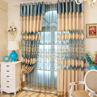 Wholesale Window Luxury Curtain - Luxury European Chenille Fabric Embroidery Curtain High Quality Curtain For Live Room Bedroom Curtains For Home Hotel