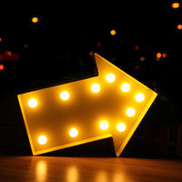 Wholesale Vintage Up Signs - Wholesale- PLASTIC Arrow LED Marquee Sign LIGHT UP Vintage Marquee Night Lamp Indoor Dorm Turn Signal Light Christmas Party Wedding Decor