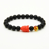 Jóias Religiosas Atacado 10pcs / lot 8mm Matte Black Beads Mix Cores Big Resina Buddha Beads Bracelets Cheap Jewelry