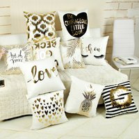 Wholesale Decorative Stamps - Supersoft Velvet Bronzing Pillow Cover Cushion Cover Home Decor gold stamp Pillow Decorative Throw Pillows LOVE Pillow Case IC590