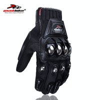 Wholesale Wholesale Leather Motorcycle Accessories - Wholesale- Motorcycles full finger men Motocycle Gloves Accessories & Parts Protective Gears gloves for motorcyclists steel alloy protect