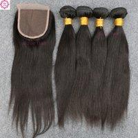 rosa saç kapatma toptan satış-8A Sınıf Yüksek Kalite Ile Hiçbir Arapsaçı 4 Demetleri Atkı Dantel Kapatma Eğim Rosa Brezilyalı İnsan Virgin Saç Ücretsiz Gemi Yüksek Kalite