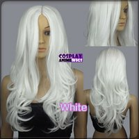 60cm Weiß Hitze Styleable No Bang Curly wellig Cosplay Perücken 38_101