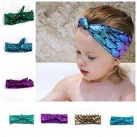 Wholesale Fishing Headwear - Colors Girls Mermaid Headband Children Fish scale Rabbit ears Hairbands Kids Hair Accessories baby Princess Headwear KKA3008