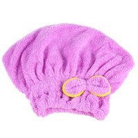 Wholesale Microfiber Tower - High Quality Quick Hair Drying Cap Hat Microfiber Ultra Absorbent Hair Towel Dry Wrap Bow-Knot Embellished Cap Quick Dry Hair Tower
