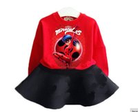 Wholesale Ladybird Clothes - Wholesale- 2017 new baby girls clothes set 2pes Cartoon Miraculous Ladybird Reddy Hero kids clothing big girls 2-8Y