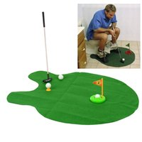 HOT SALE Atacado - Banho Funny Golf Toilet Time Mini Game Play Putter Novelty Gag Gift Mat Set
