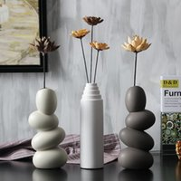 Wholesale Modern Abstract Ornaments - nordic creative art vase abstract decorative vase home decoration ceramic flower ornaments Minimalist Ceramic furnishings Vase 70