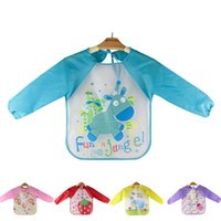 Wholesale Toddler Apron Wholesale - Wholesale- Baby Feeding Bibs Lovely Toddler Waterproof Long Sleeve Art Smock Bib Apron 2016 Cartoon Children Feeding clothing baberos