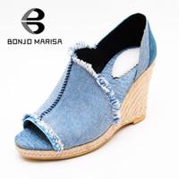 Wholesale Super High Platform Wedges - BONJOMARISA Denim 2017 Summer Fashion Sandals With Low Platform Peep Toe Super High Wedges Women Shoes Size 34-39