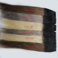 Wholesale Wholesale Real Human Hair Extensions - Brazilian virgin tape in hair extensions remy 40 pieces 100g ombre real human hair straight 40pcs skin weft seamless hair extensions