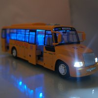 Wholesale Toy Buses American - High simulation Large American school bus can open alloy light back car model school bus for children toys