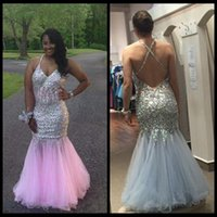 Wholesale corset style evening dresses for sale - Group buy abendkleider Pink Mermaid Style Prom Dresses Blingbling Beaded Long Evening Party Gowns Crisscross Back Corset Prom Gowns