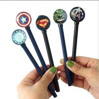 Wholesale Superhero Pens - 10pcs lot Cartoon Superhero Ink Pen Ball Point Pen Gel Pens School Office Supplies Fashion Cute Gift Decorations Pen Papelaria