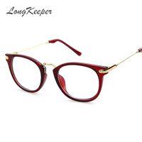 Wholesale Grade Spectacle Frame - Wholesale- 2017 Round Spectacle Frame for Female Grade Computer Glasses Fashion Reading Cat Eye Glasses Women Optical Prescription Eyewear