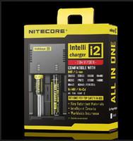 ingrosso spine multi-caricabatterie-Autentico caricabatteria intelligente universale Nitecore I2 per lg hg2 18650 14500 16340 batteria ricaricabile a batteria 26650 per Stati Uniti Regno Unito Spina UE