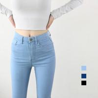 Wholesale American Apparel Xs - High Waist High Elastic Jeans Women Hot Sale American Apparel Skinny Pencil Denim Pants Fashion Pantalones Vaqueros Mujer