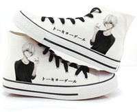 Wholesale Orange Canvas Paintings - Japan anime Tokyo Ghoul male female shoes print Kaneki Ken Canvas shoes hand-painted Harajuku cos lovers casual canvas shoes