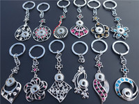 Mix Styles Fashion Rhinestone Plants Keyrings Noosa Chunks Metal Ginger 12mm Snap Buttons Key Chains Jewelry Wholesale