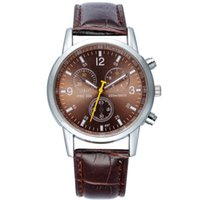 Wholesale Leather Womens Watches Brown - 100pcs Men's Watches 2017 Womens Leather Watch Reloj Hombre Sports Quartz Watch Clock Top Brand Wristwatches Marca Relogio Masculino