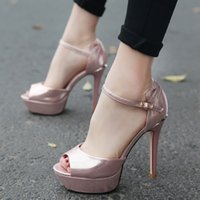 Wholesale Sexy Shoes Small Heels - 2017 new high heels golden sexy waterproof small toe light and fish mouth female sandals shoes