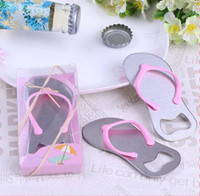 Wholesale Flip Flop Bottle Opener Starfish - 20PCS LOT Starfish Design Flip Flop Bottle Opener Wedding Gift favors for party decoration gift and Beach wedding favors 2Colors
