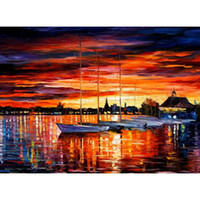 Wholesale Yacht Knife - Beautiful landscape paintings helsinki sailboats at yacht club palette knife art wall pictures for living room