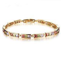 Wholesale Square Rhinestone Sliders - Fashion Women Bracelets Jewelry Gold-Color White   Colorful Square CZ rhinestone Diamonds Charm Bracelets & Bangles Boutique Valentine Gifts