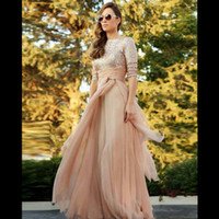 Wholesale Customized Fashion Shirt - Fashion Champagne Gold Bridesmaid Dresses Bateau Neck Long Sleeves Sequins Chiffon Floor Length Prom Dresses Wedding Guest Dresses