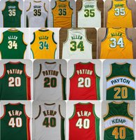 Wholesale Glove Retro - Throwback 35 Kevin Durant Seattle SuperSonics Basketball Jerseys Retro The Glove 20 Gary Payton Reign Man 40 Shawn Kemp 34 Ray Allen Jerseys