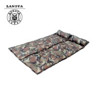 Wholesale Beach Beds - Wholesale- Outdoor Camouflage Automatic Inflatable Bed Mattress Camping Equipment Fishing Beach Mat Sleeping Pad Can Be Spliced