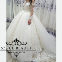 Wholesale Over Shoulder Long Dress - Over Skirts Tulle Long Sleeves Wedding Dresses Sheer Off Shoulder Puffy Ball Gown Bridal Exquisite Appliques 2017 Vestido De Noiva