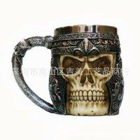 Wholesale Stainless Steel Ceramic Coffee Mugs - Halloween gifts stainless steel skull coffee cup 3D skull shape cup coffee mug 400ML fashion Cup ceramics Mug