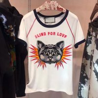 Wholesale Designer Shirts For Women - HIGH QUALITY Newest Fashion 2017 Designer T Shirt Women Cat Embroidery 25 Letter Print Casual T shirt Blind for Love Tees
