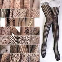Wholesale tights nylon pantyhose - Wholesale-2X Fashion Sexy Jacquard Stockings Black Fishnet Pattern Pantyhose Tights Women Sexy Pantyhose Spring Nylon Tights