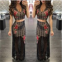 Wholesale Summer Women Set High Quality Black Tops And Long Skirts New Popular European Sexy V neck Embroidered Lace Split Suit