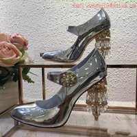 Wholesale Shoes Coloured High Heels - 2017 New style top quality new arrival women golden silver colour crystal heels genuine leather high heeled sheos female party evening pumps